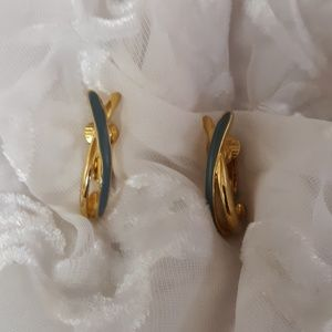 Vintage Blue Enamel Gold Tone Clip-On Earrings